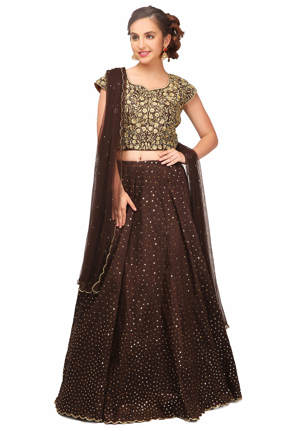 Embroidered Art Silk Lehenga in Brown