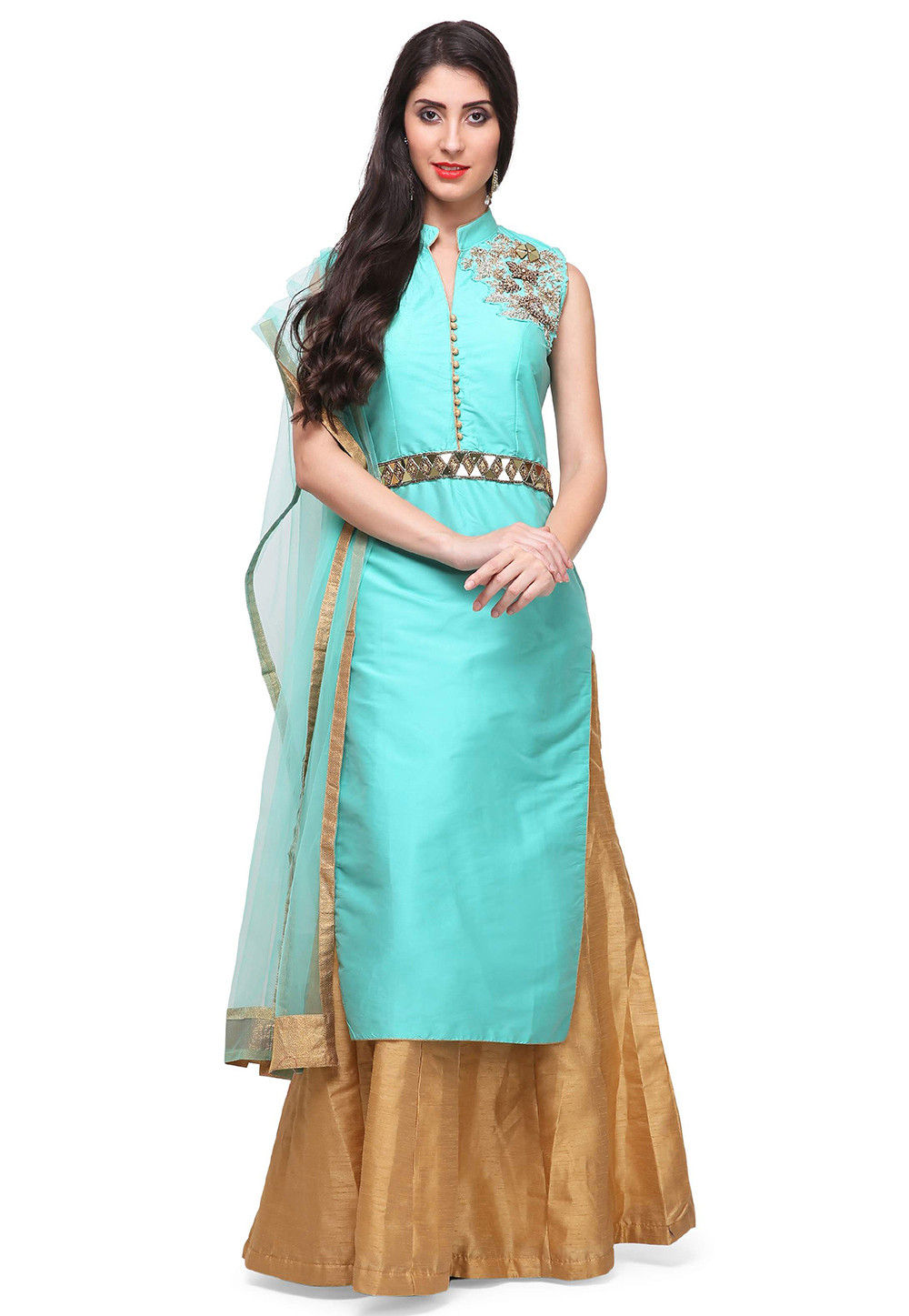 Embroidered Art Silk Long Tunic Style Lehenga in Turquoise