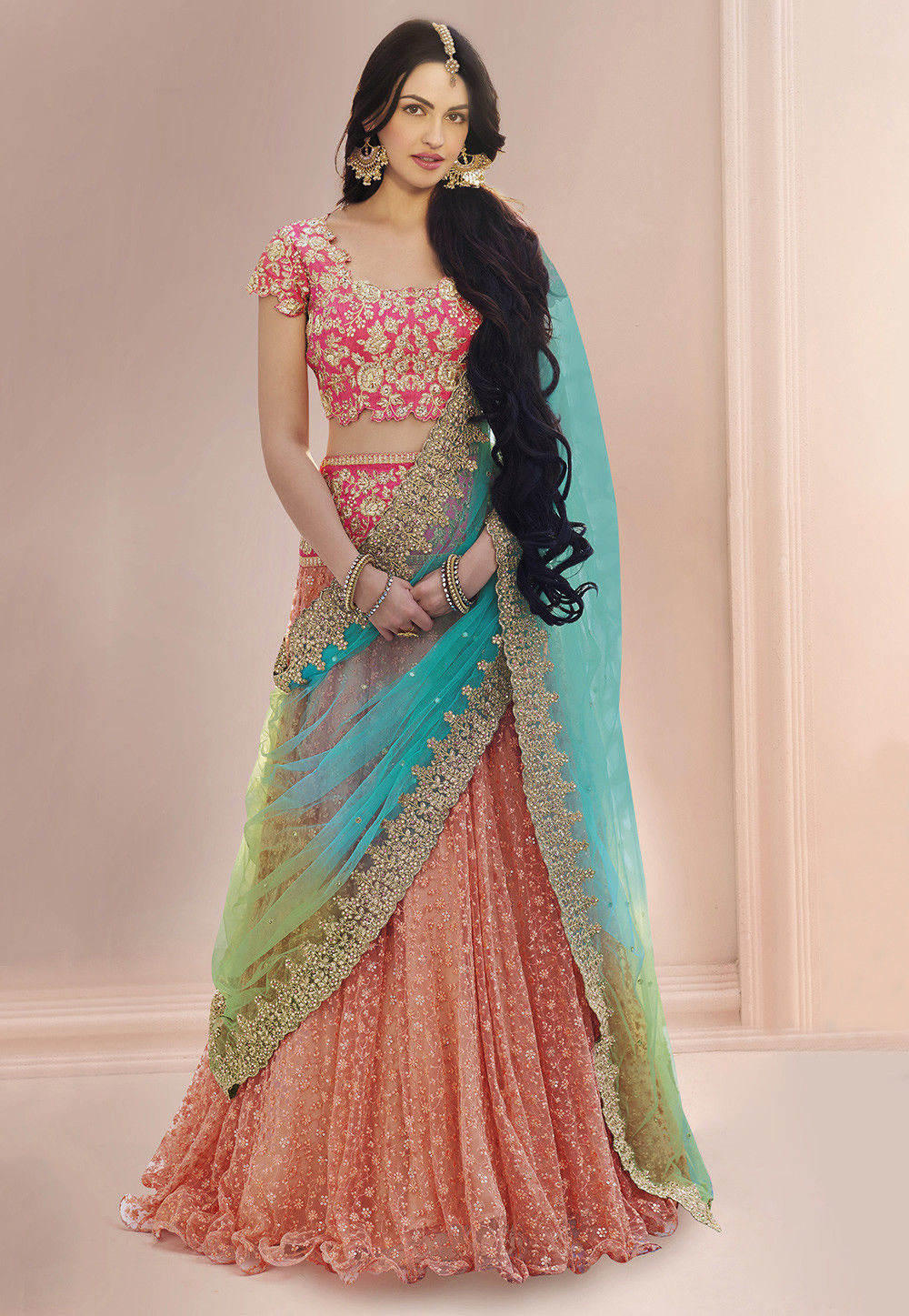 Embroidered Net Lehenga in Peach : LQM76