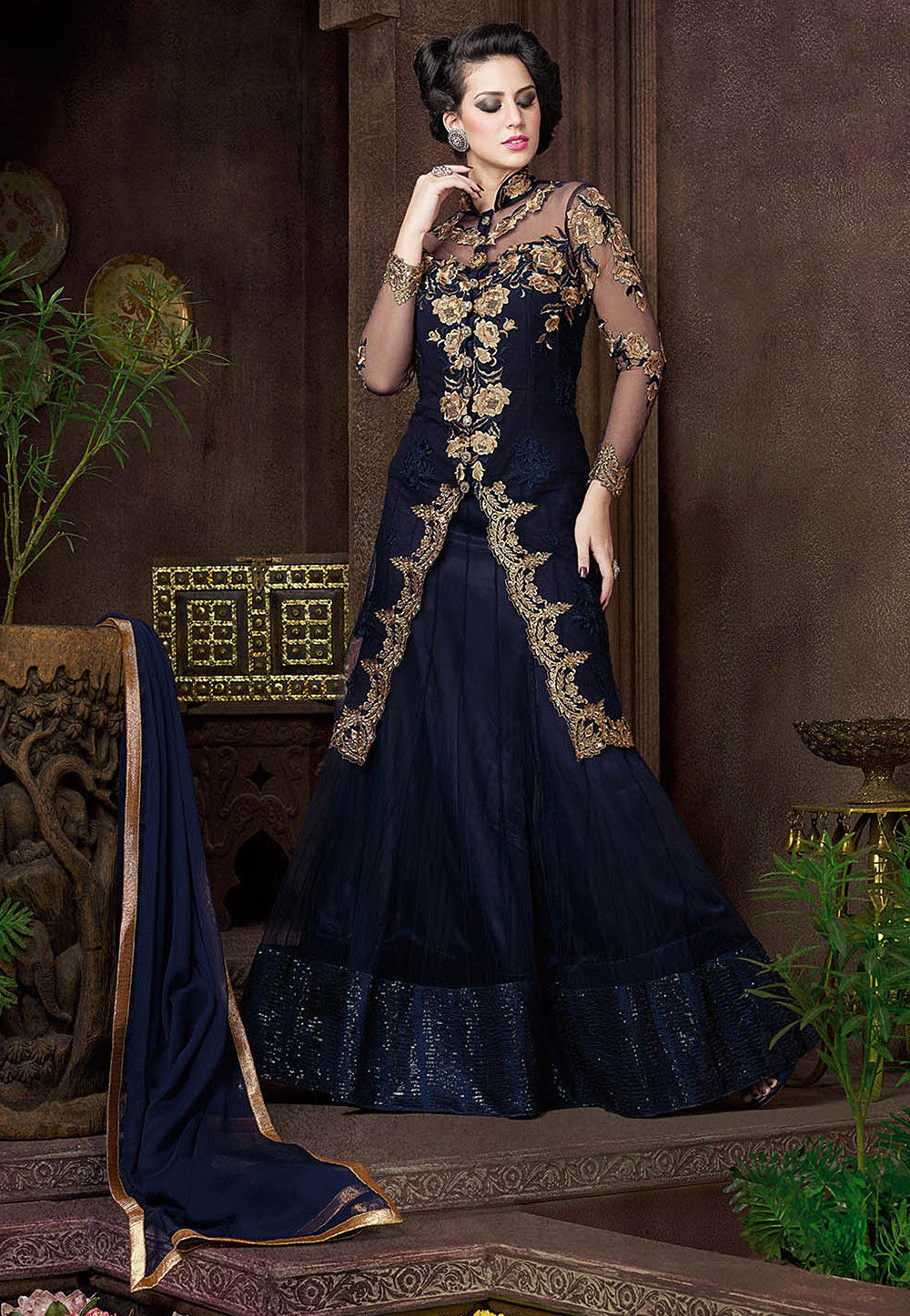 Embroidered Net Jacket Style Lehenga in Navy Blue