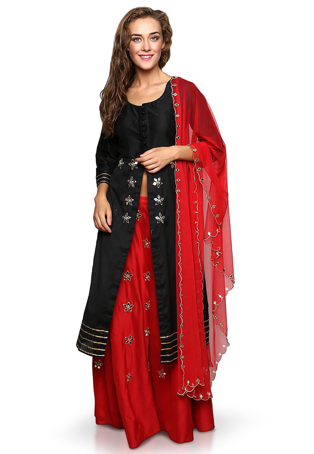 Embroidered Cotton Silk Jacket Style Lehenga in Red and Black