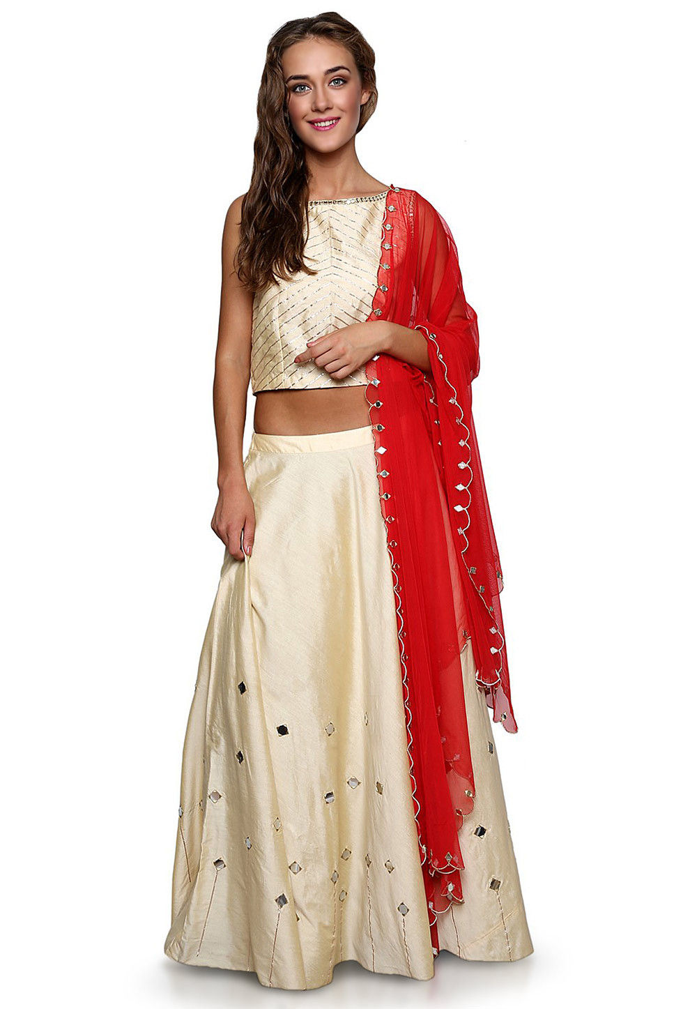 Embroidered Cotton Silk Circular Lehenga in Cream