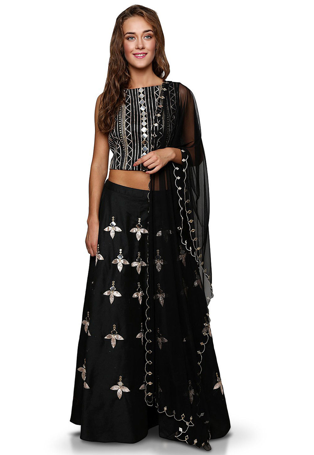 Embroidered Cotton Silk Circular Lehenga in Black