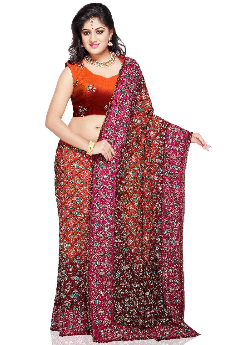 Embroidered Pure Crepe Lehenga in Orange and Maroon