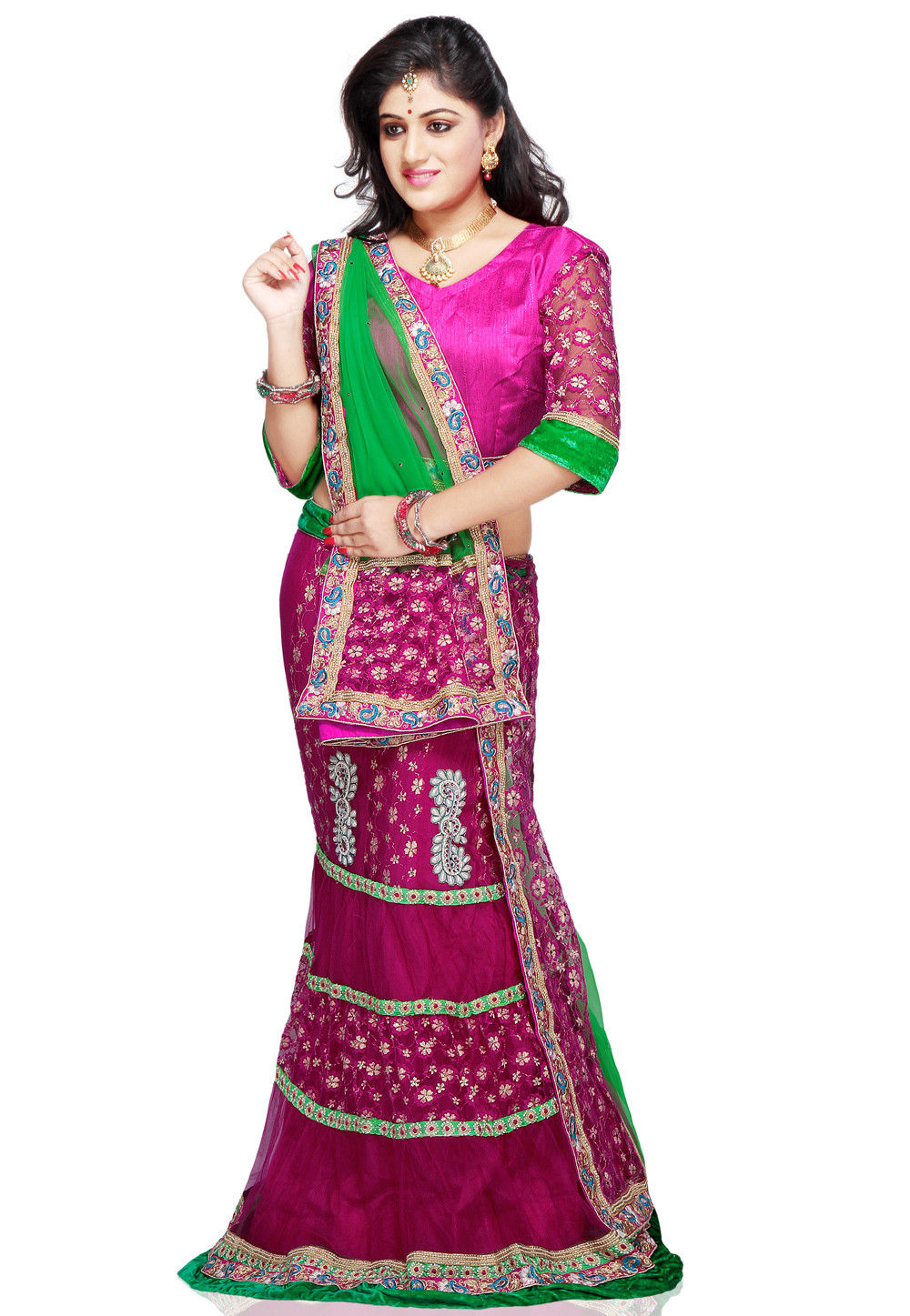 Embroidered Net Lehenga in Fuchsia and Green
