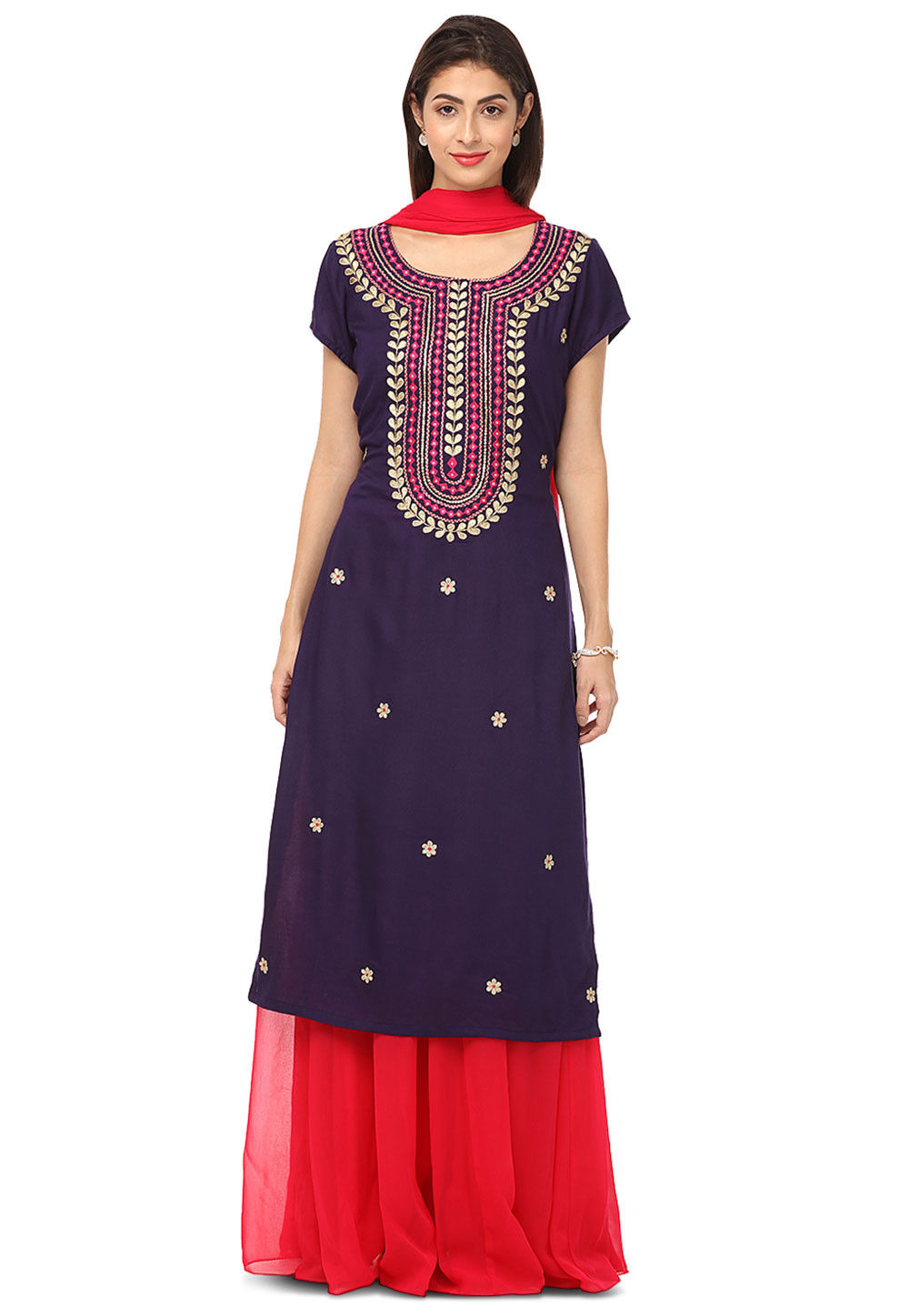Embroidered Rayon Cotton Lehenga in Dark Purple