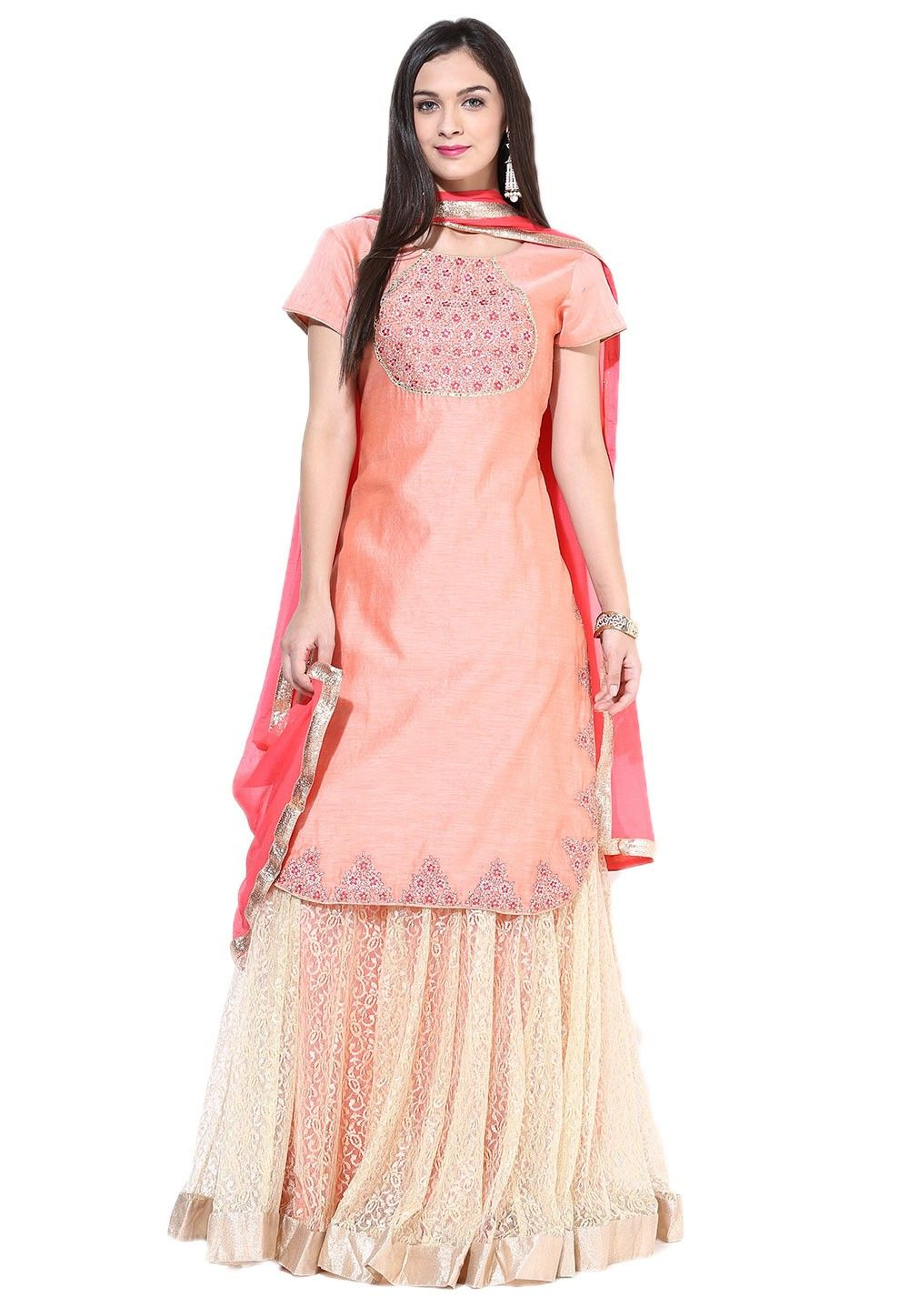 Embroidered Chanderi Cotton Long Tunic Style Lehenga in Peach