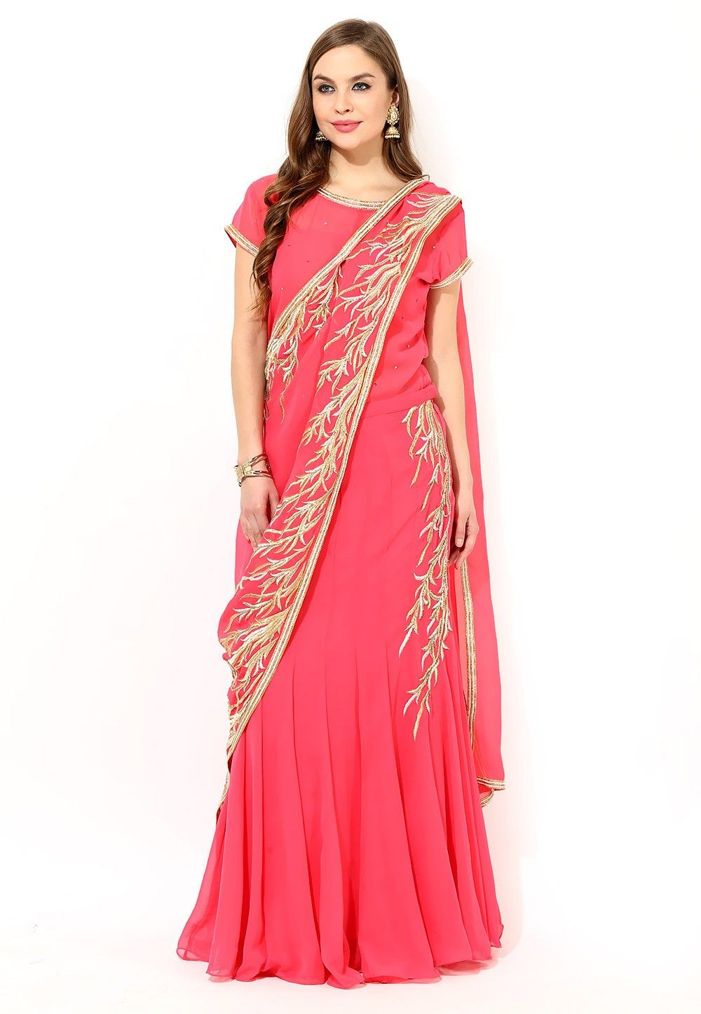 Embroidered Georgette Circular Lehenga in Coral