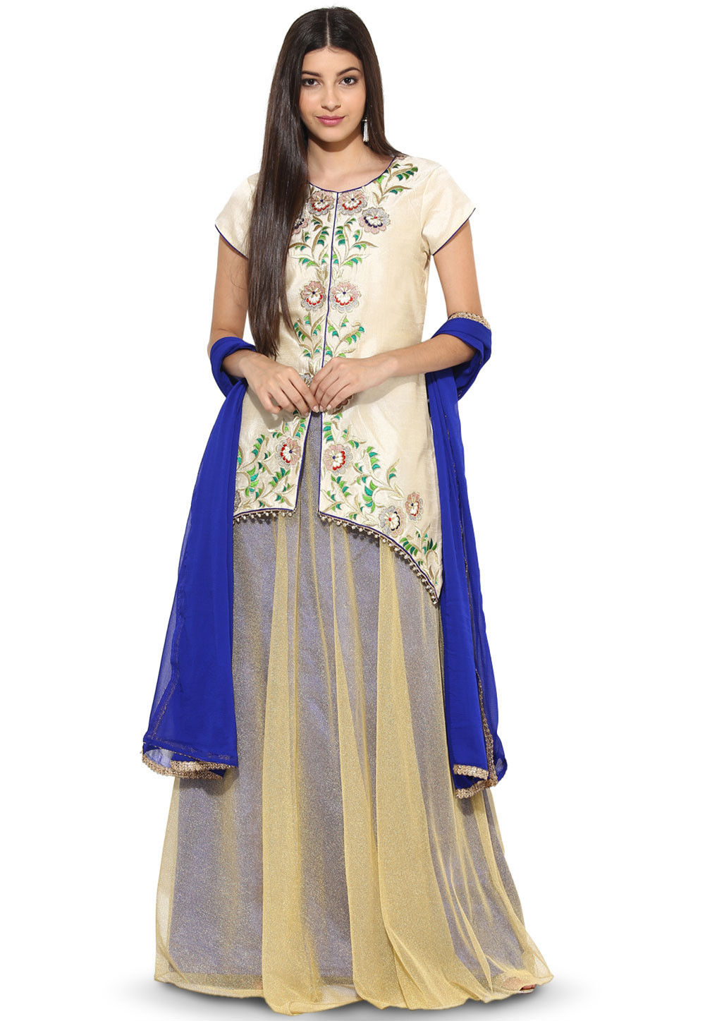 Embroidered Art Silk Jacket Style Lehenga in Off White and Beige