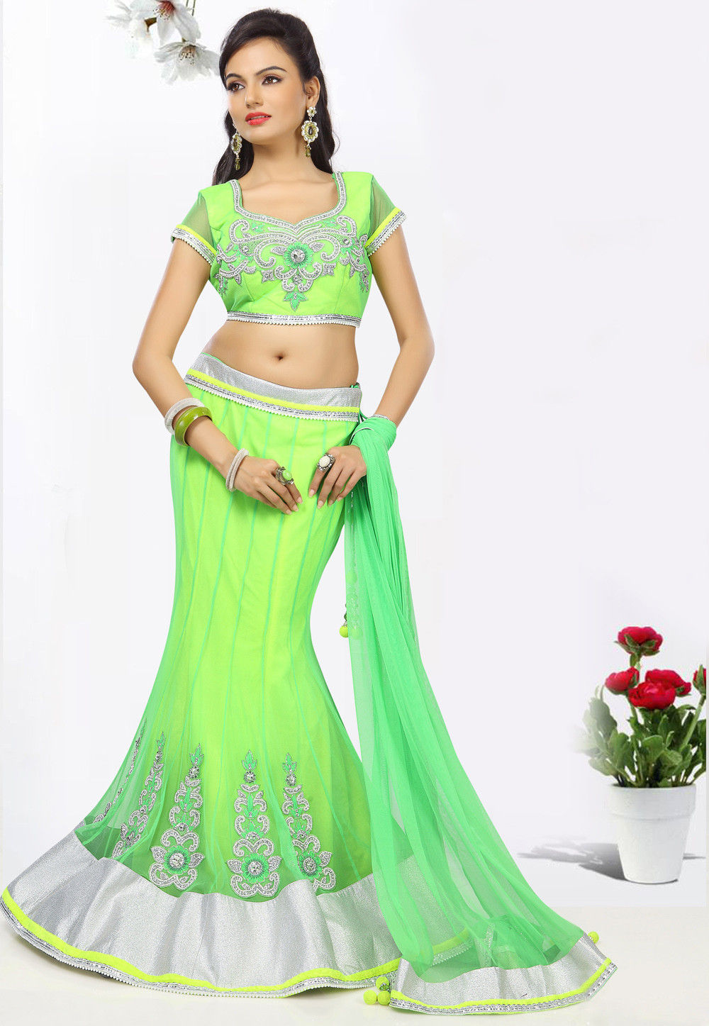 Green Net Lehenga Choli with Dupatta