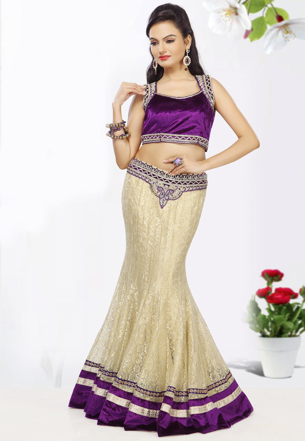 Cream Chantelle Net Lehenga Choli with Dupatta