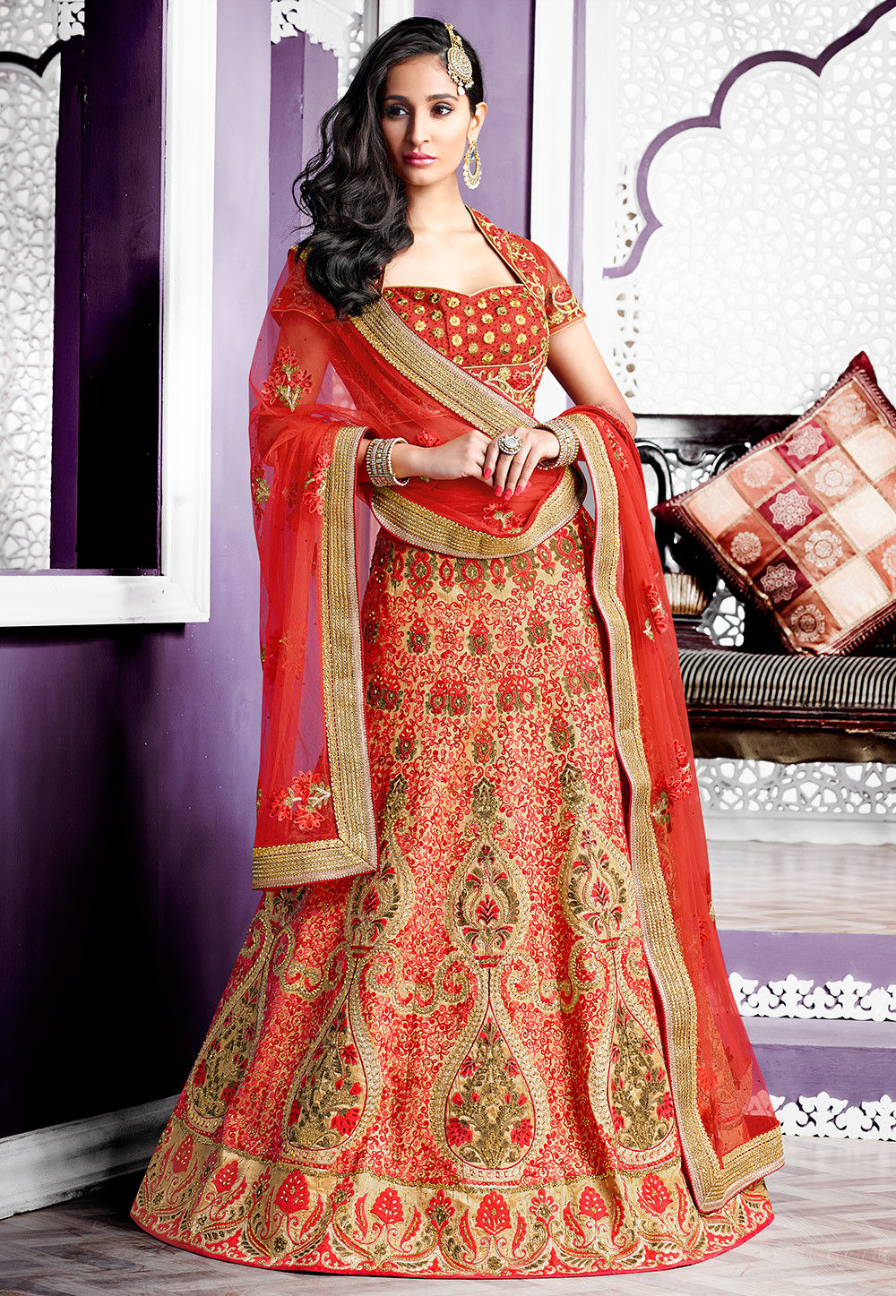 Embroidered Art Silk Circular Lehenga in Beige and Red
