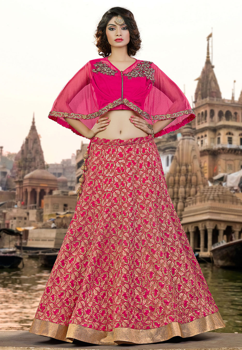 Woven Art Silk Jacquard Circular Lehenga in Pink