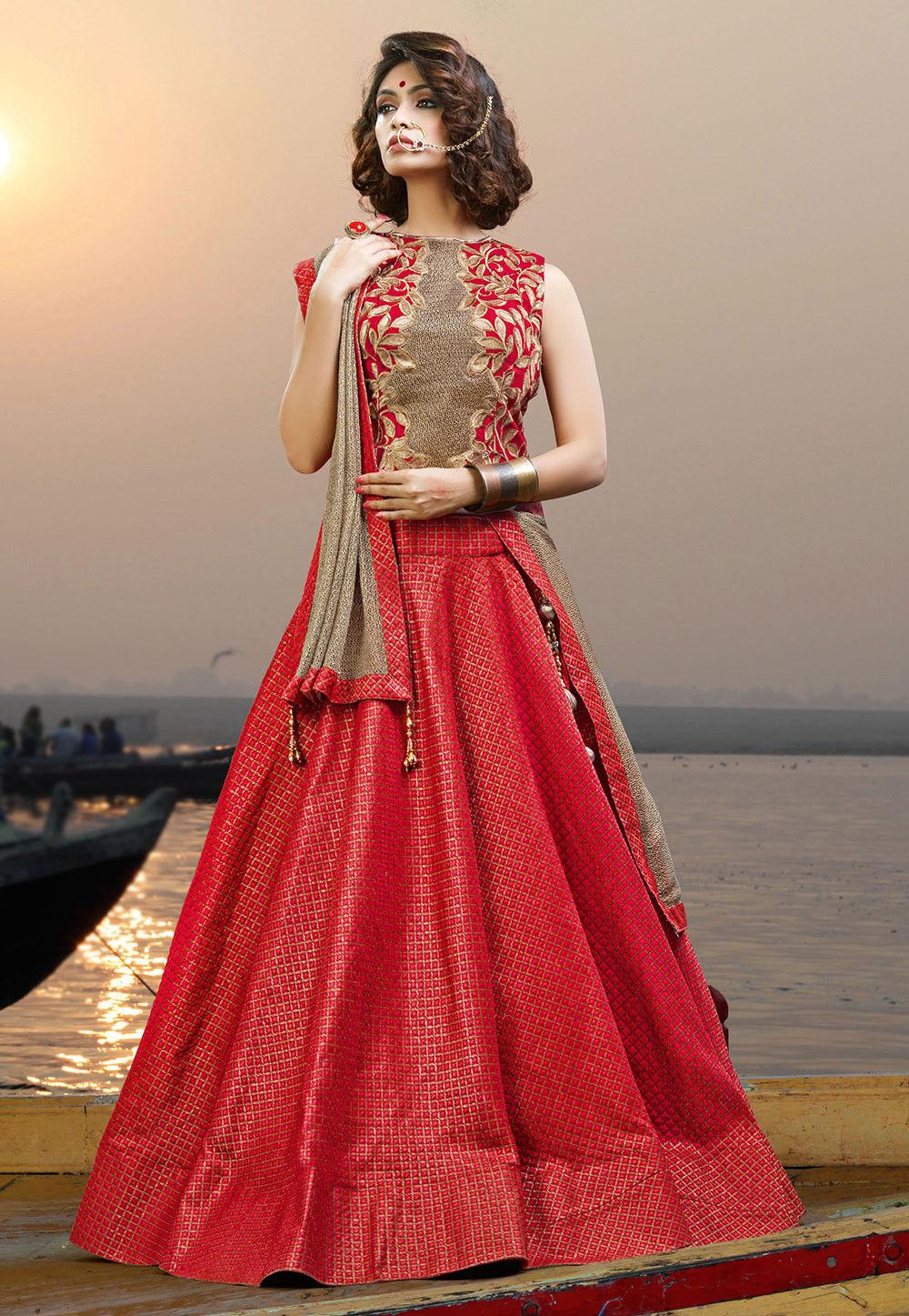 Woven Art Silk Jacquard Circular Lehenga in Red