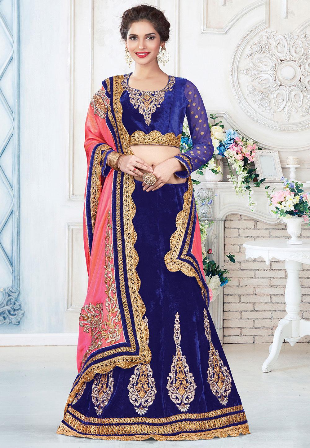Embroidered Velvet Lehenga in Royal Blue