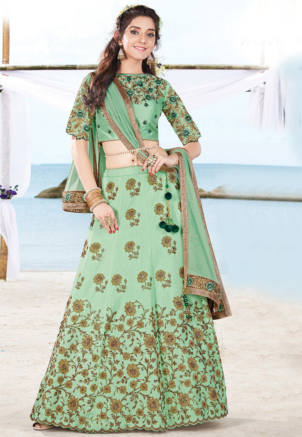 Embroidered Art Silk Circular Lehenga in Pastel Green