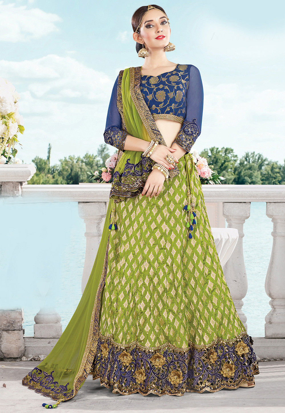 Embroidered Art Silk Circular Lehenga in Olive Green