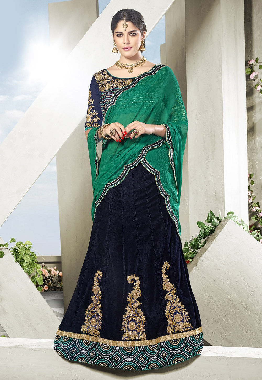 Embroidered Velvet Lehenga in Dark Blue