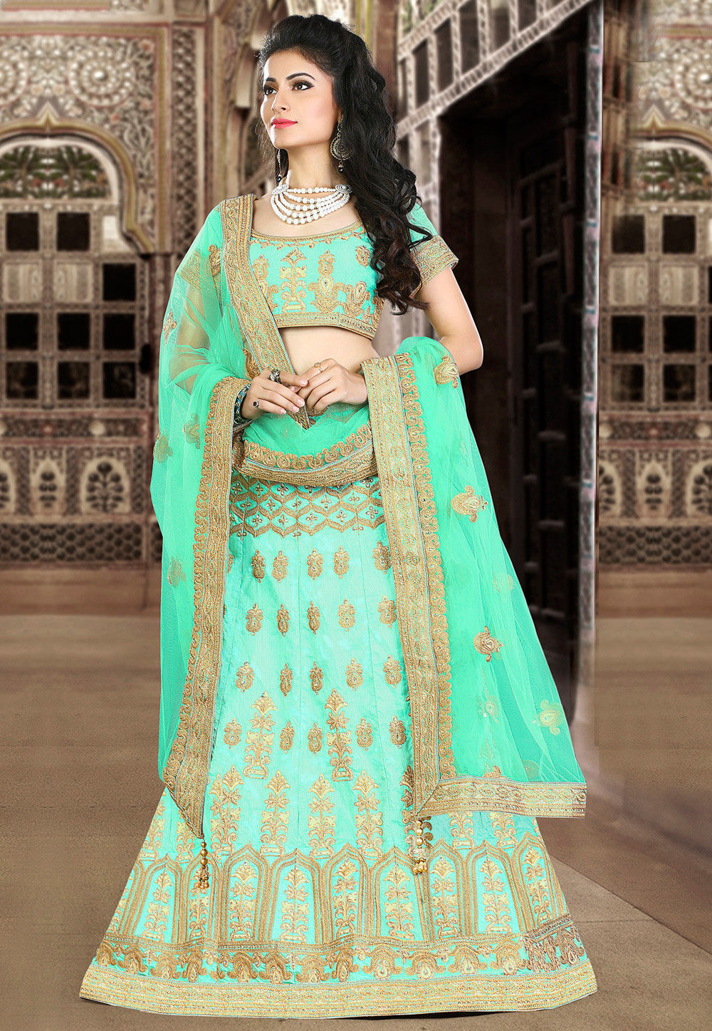 Embroidered Art Silk Circular Lehenga in Turquoise