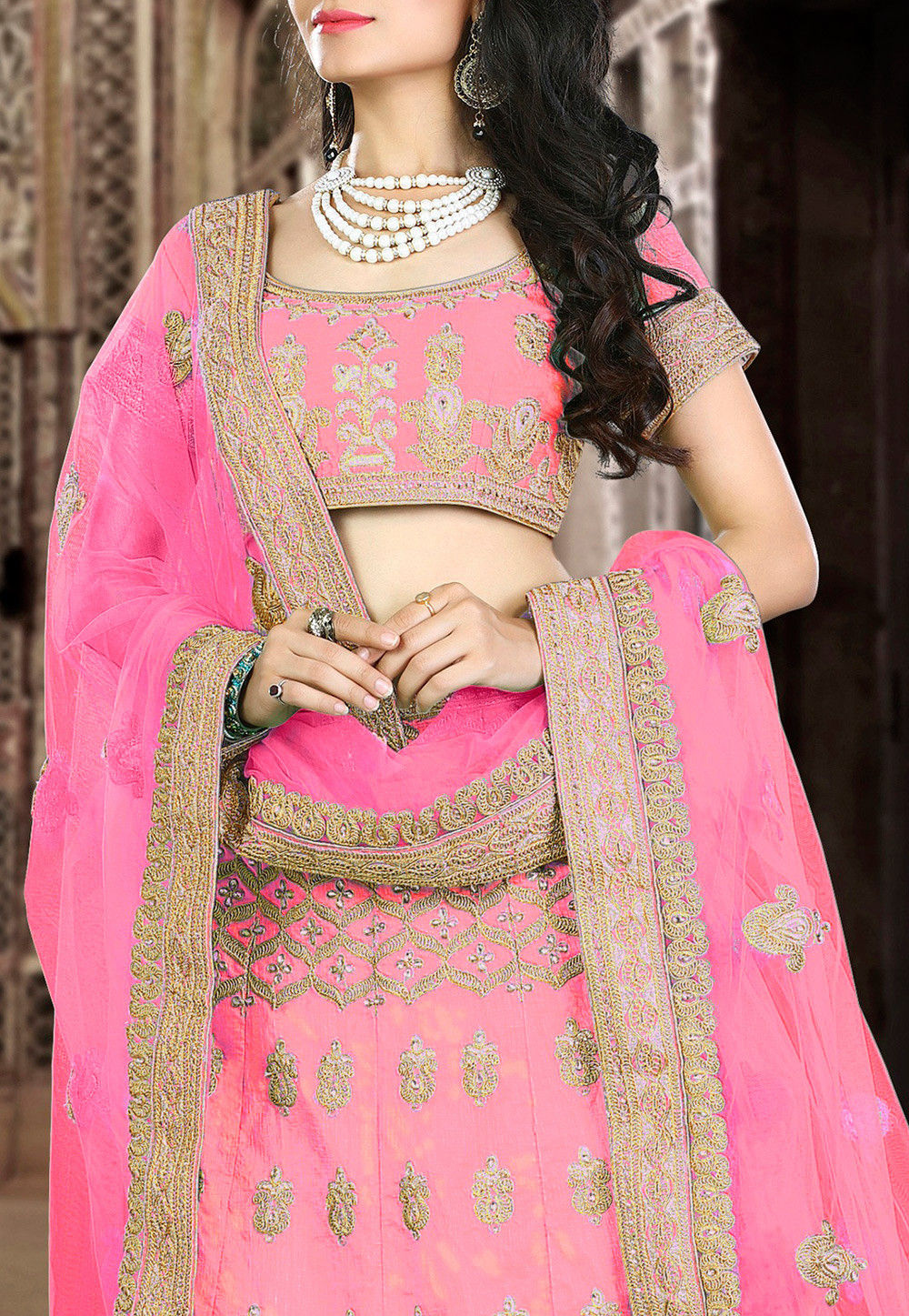 Embroidered Art Silk Circular Lehenga in Pink