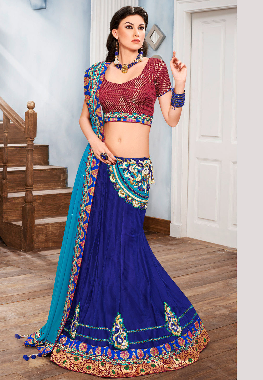 Embroidered Net Lehenga in Blue and Turquoise