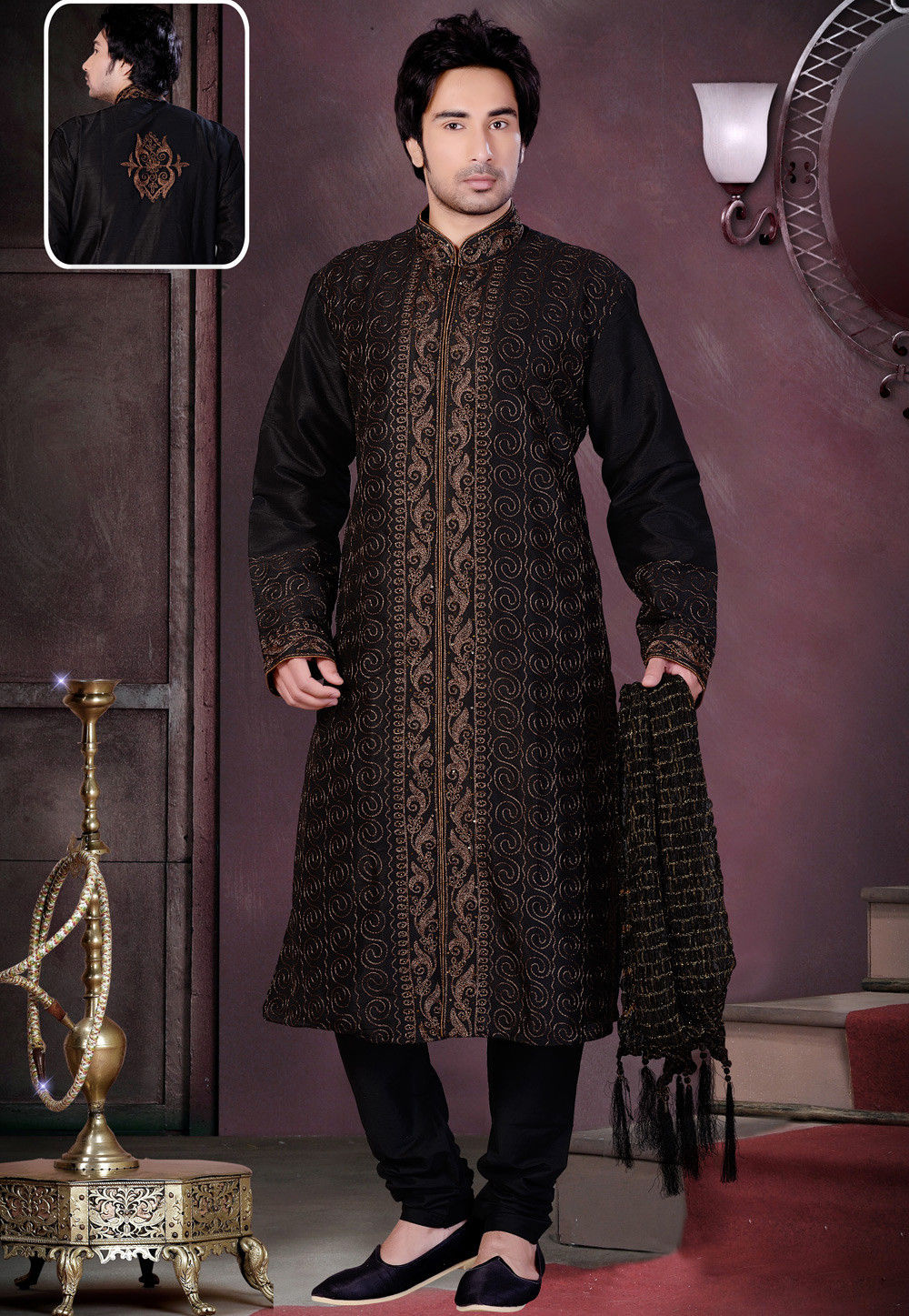 Embroidered Dupion Silk Kurta Churidar in Black