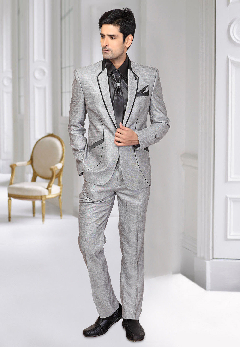 Poly Cotton Blazer Suit in Light Grey