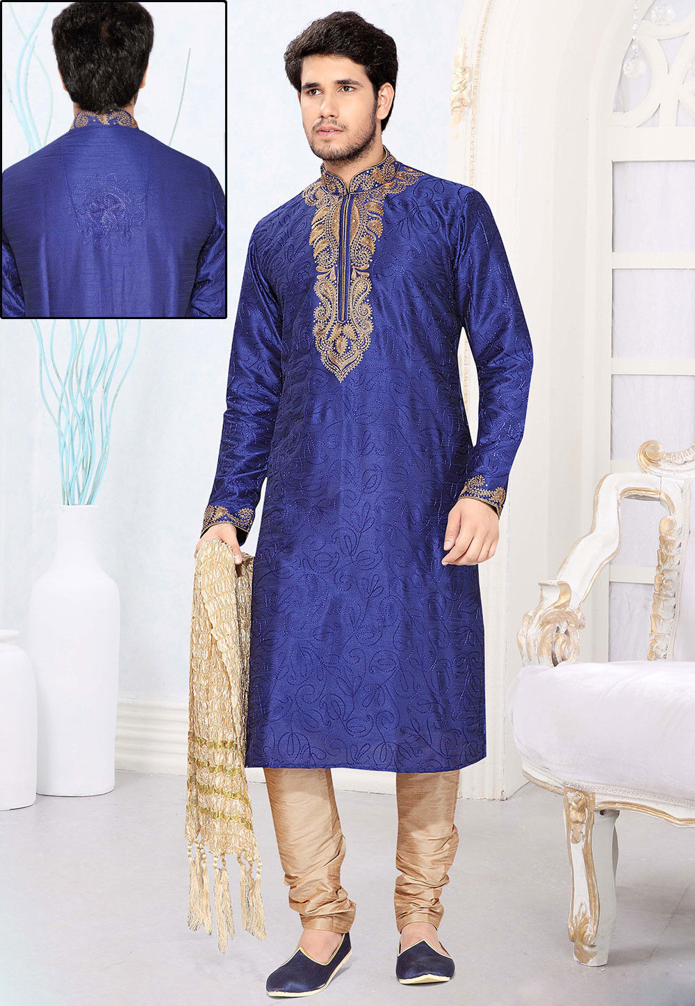 Embroidered Art Silk Kurta Churidar in Blue