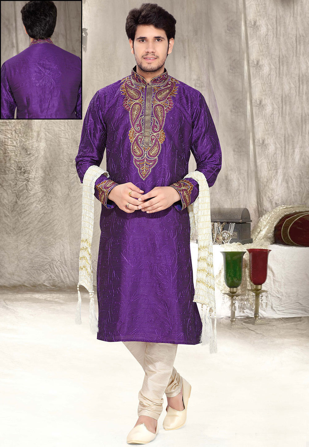 Embroidered Art Silk Kurta Churidar in Purple