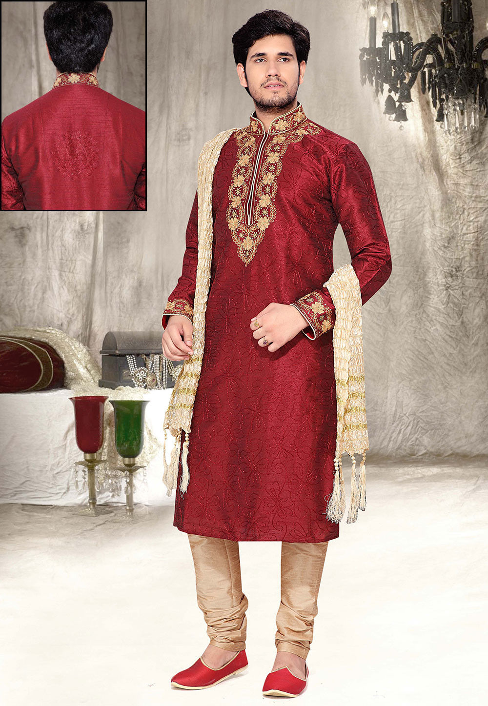 Embroidered Dupion Silk Kurta Churidar in Maroon