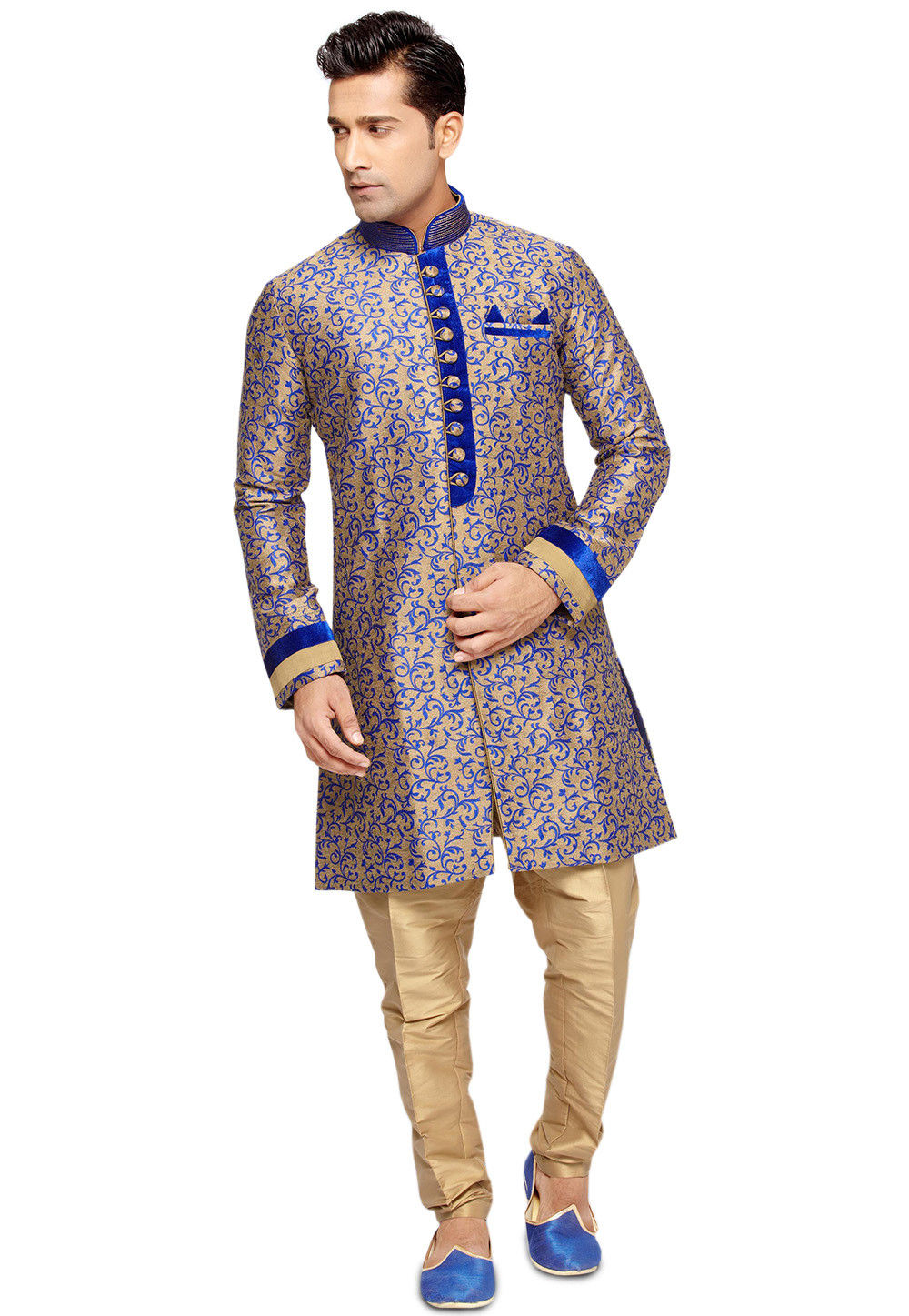 Brocade Sherwani in Beige and Royal Blue