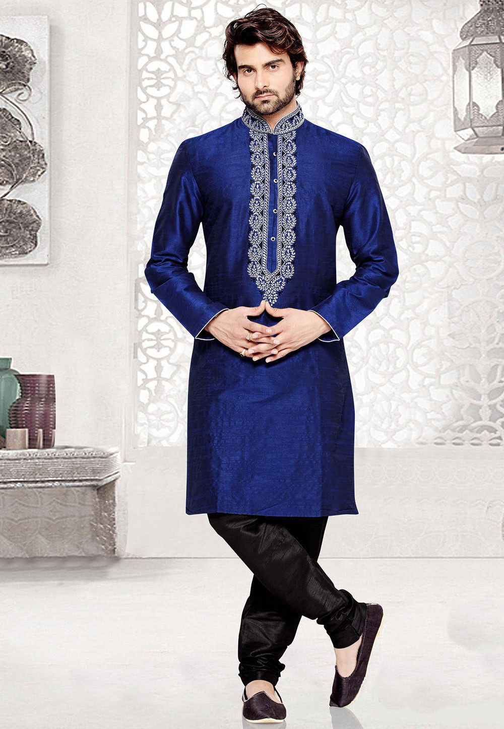 Embroidered Art Silk Kurta Churidar in Royal Blue