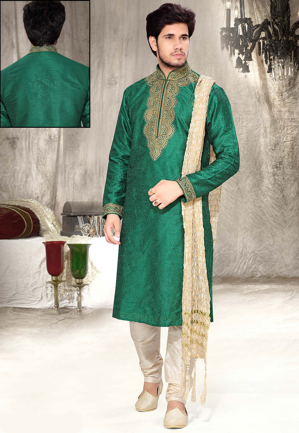 Embroidered Green Art Silk Kurta Set