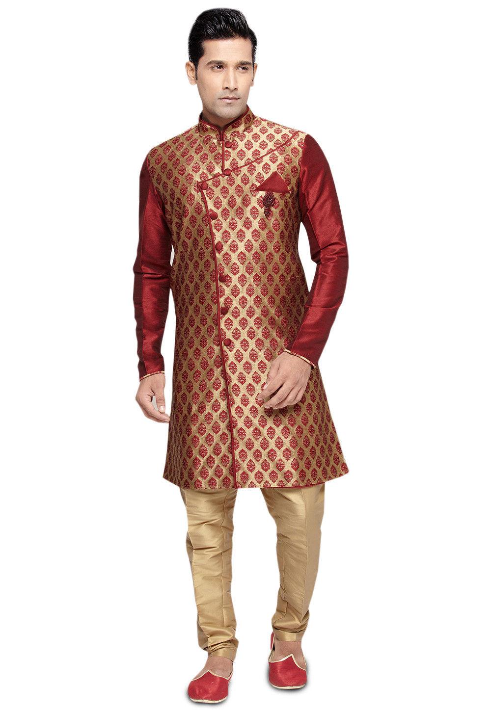 Brocade Sherwani in Golden and Maroon