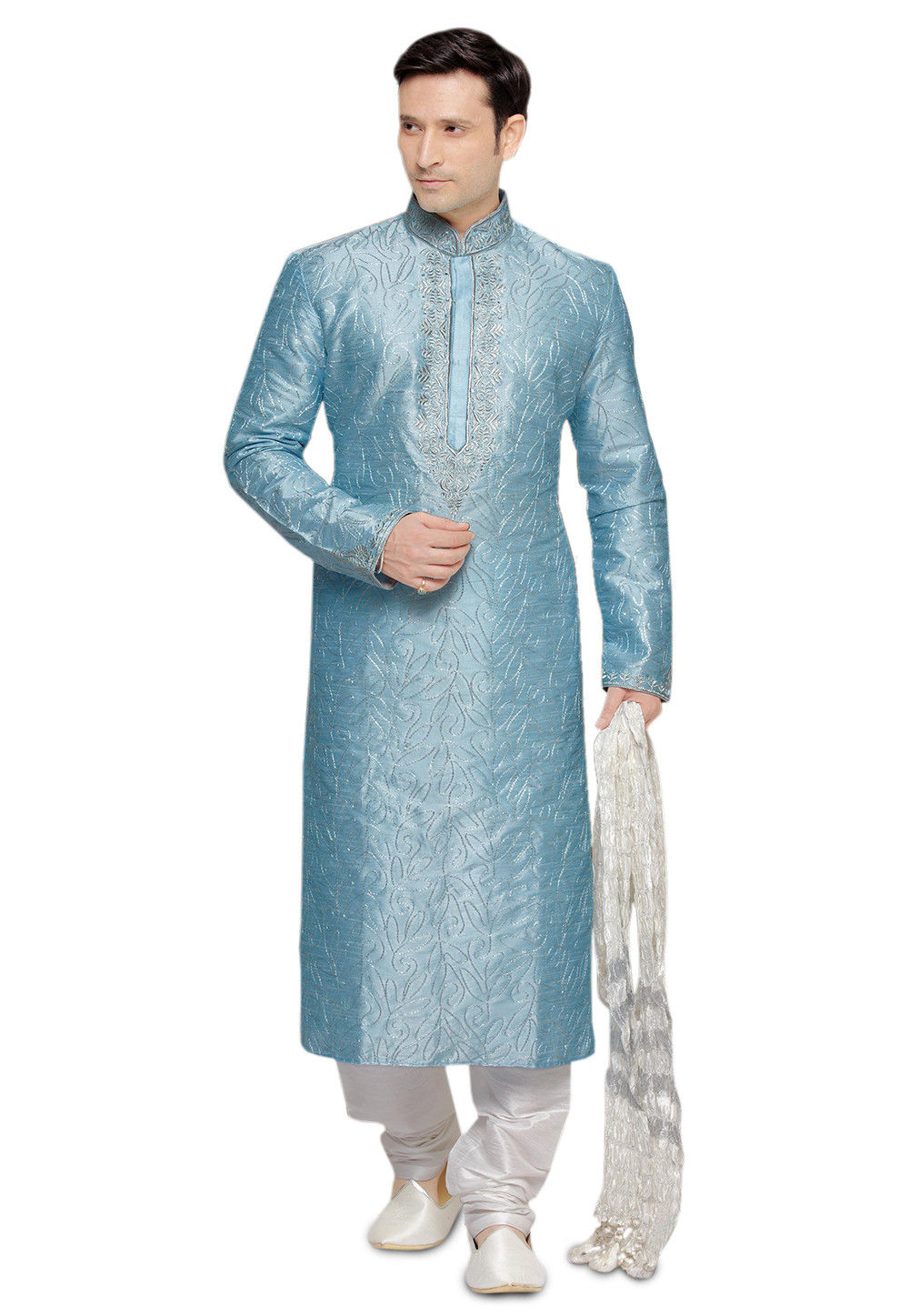 Embroidered Teal Blue Art Silk Kurta Set