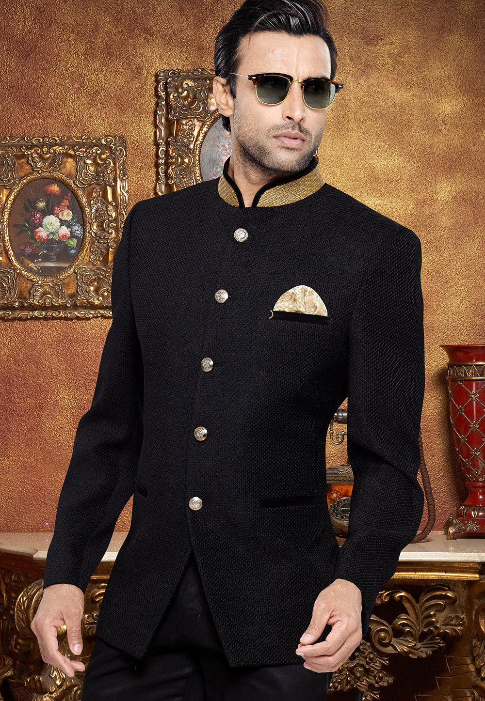 Jute Silk Jodhpuri Jacket in Black