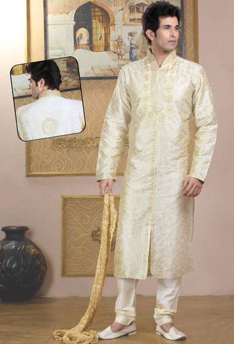 Embroidered Raw Silk Kurta Churidar in Cream