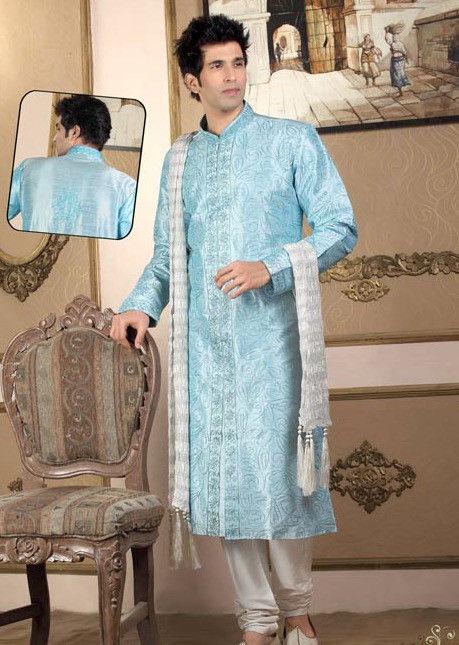 Embroidered Raw Silk Kurta Churidar in Blue