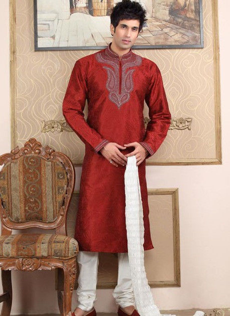Embroidered Raw Silk Kurta Churidar in Maroon