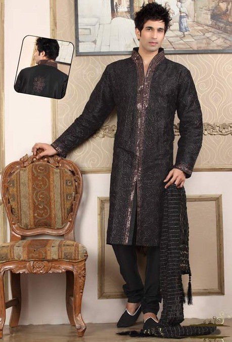 Embroidered Raw Silk Kurta Churidar in Black