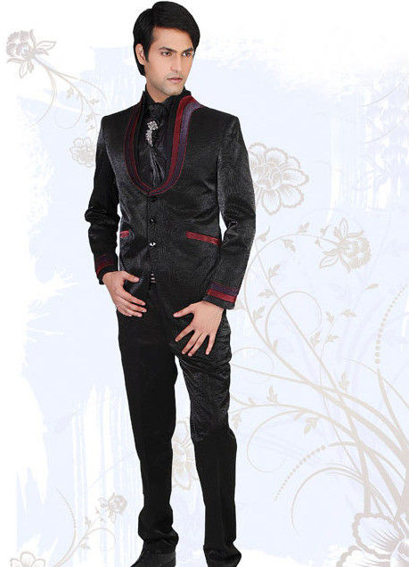 Plain Art Silk Blazer Suit in Black