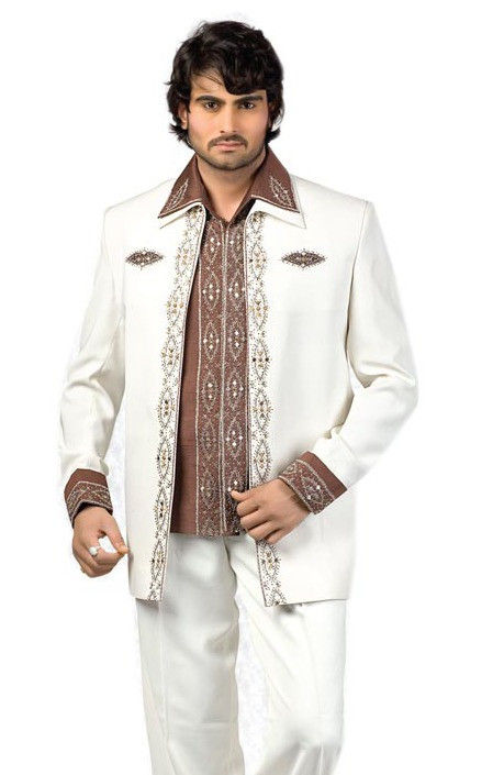 Embroidered Art Silk Suit in Cream