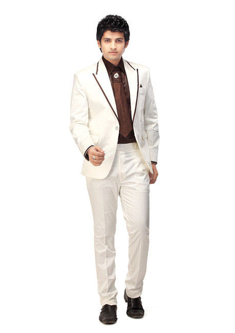 Satin Blazer Suit in Off White