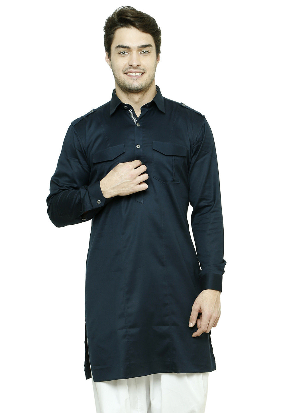 Cotton Kurta in Navy Blue