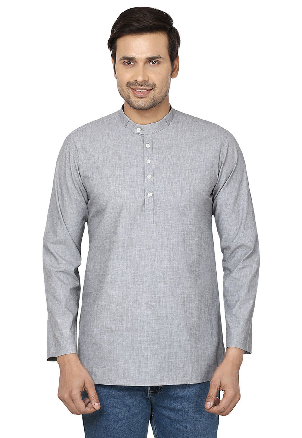 Plain Cotton Short Kurta in Light Grey