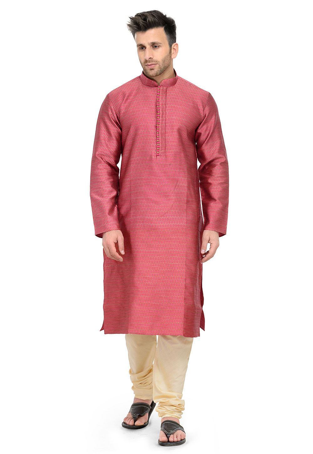 Woven Art Silk Jacqurd Kurta Set in Coral