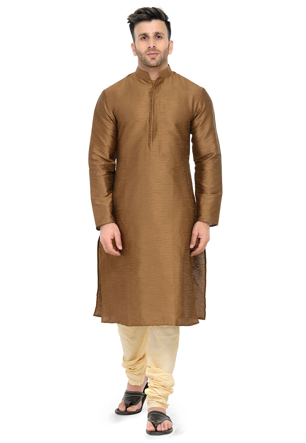 Woven Art Silk Jacqurd Kurta Set in Brown