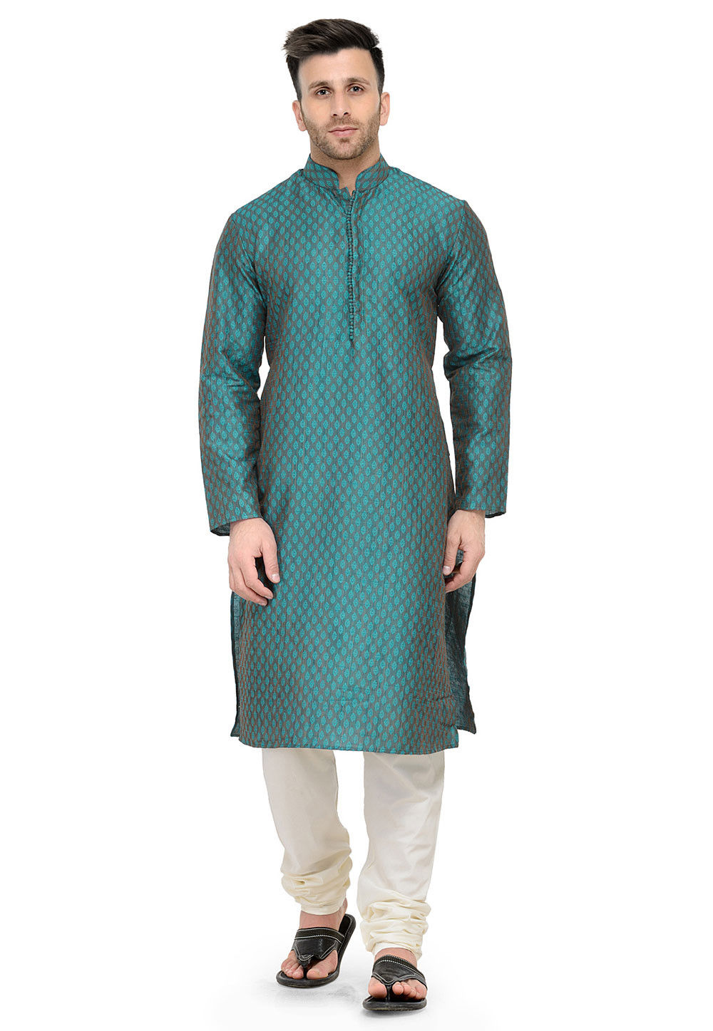 Woven Art Silk Jacqurd Kurta Set in Turquoise