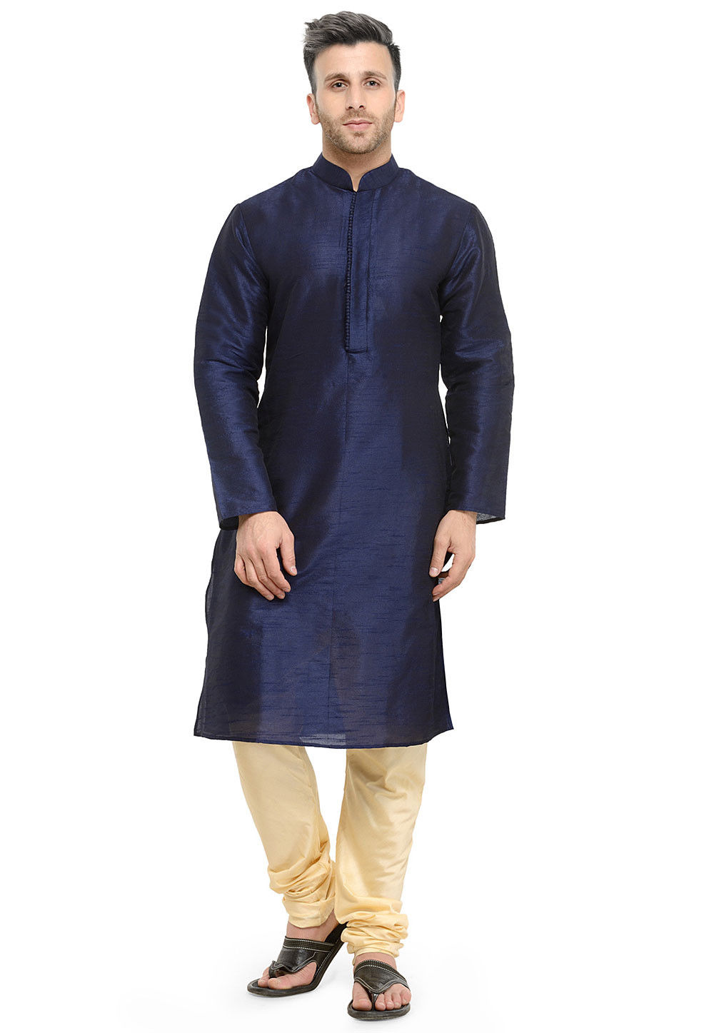 Plain Art Dupion Silk Kurta Set in Navy Blue