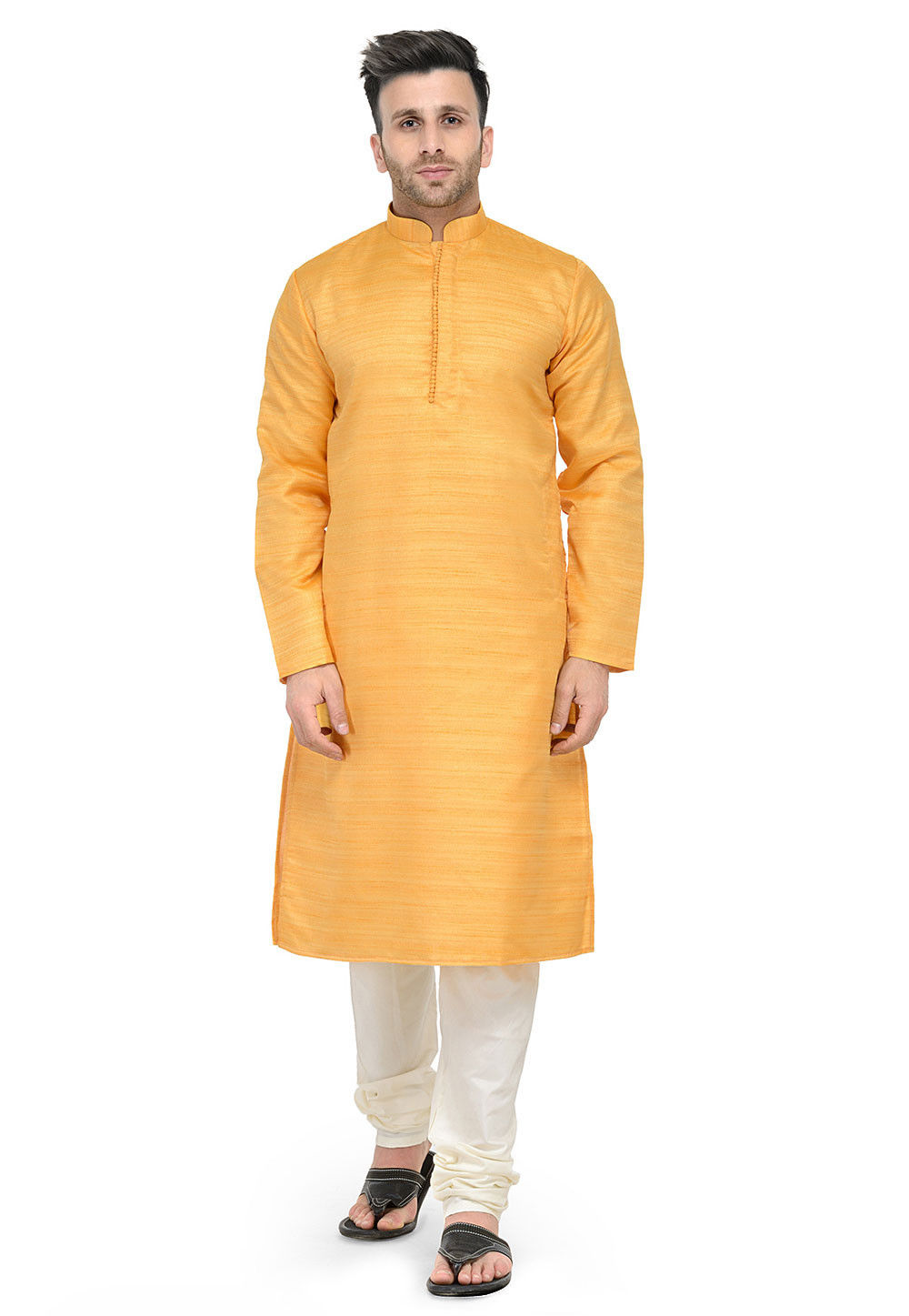 Plain Art Silk Kurta Set in Mustard